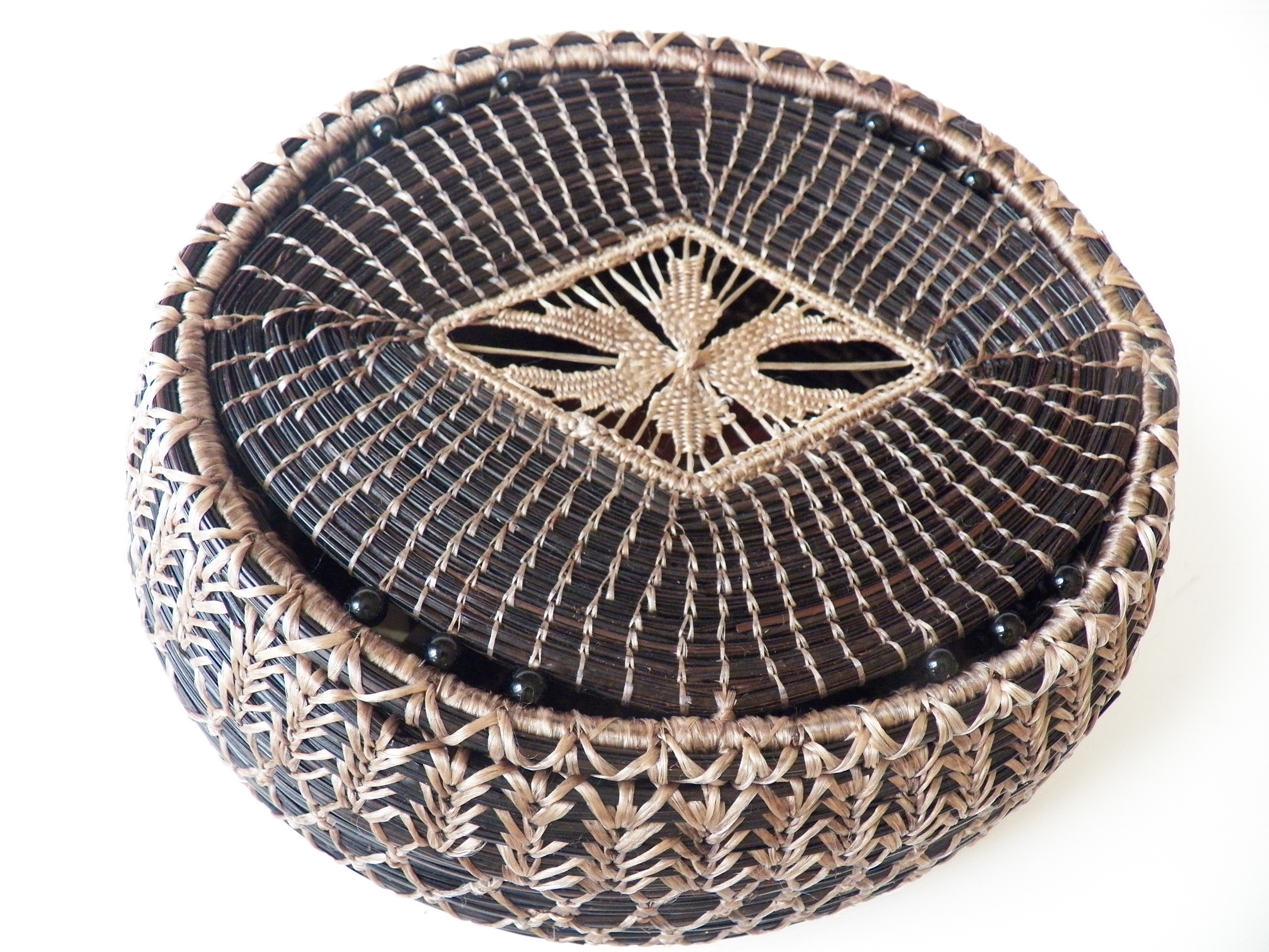 Large Black Lidded Basket With Beads