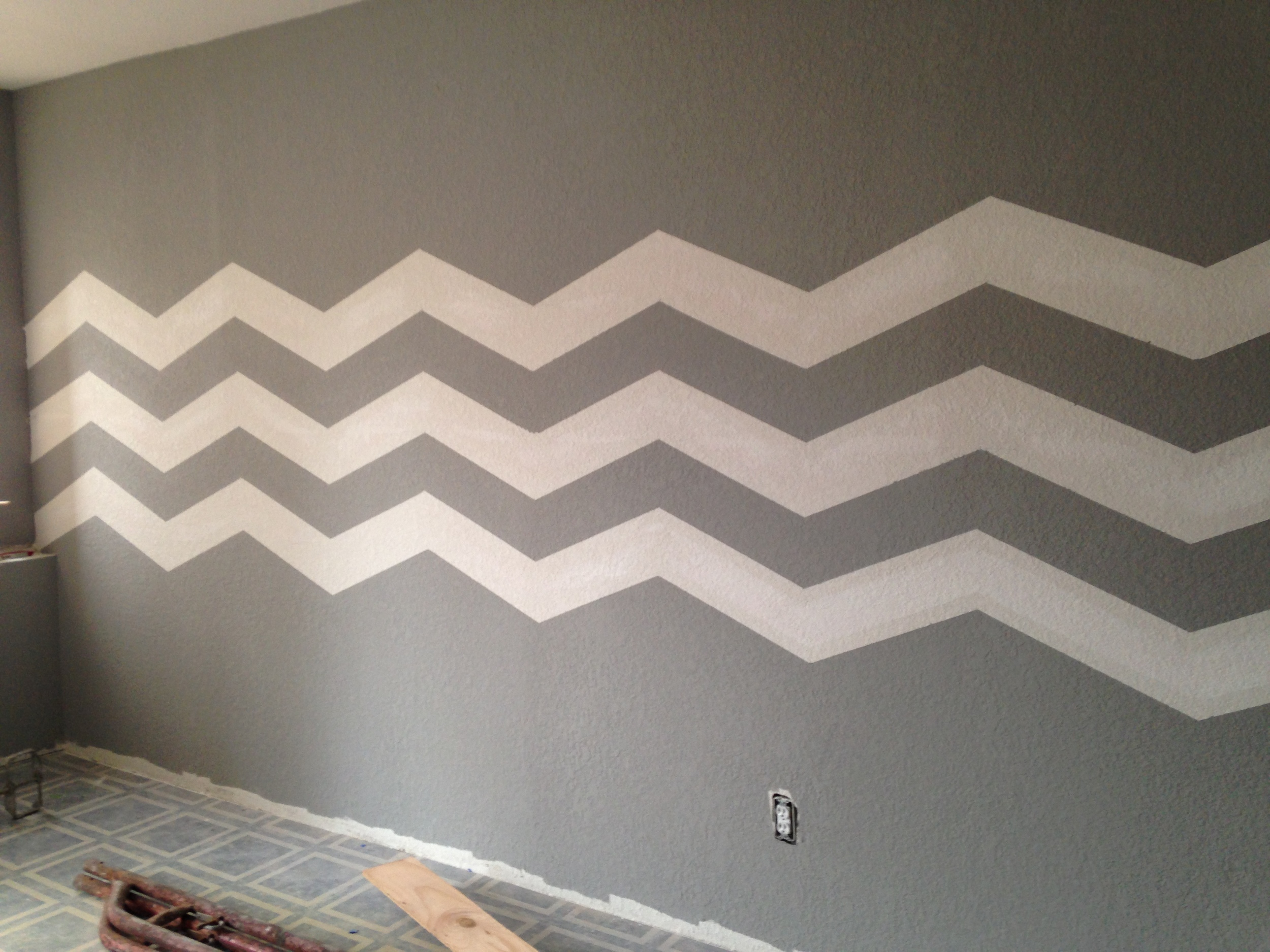 Chevrons on the wall...not as easy as it seems!