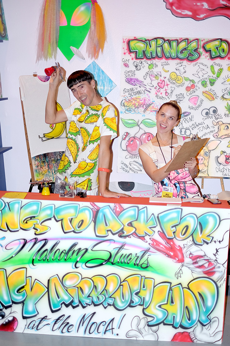 Malcolm Stuart's Fancy Airbrush Shop at the MOCA Step And Repeat.  Photo: Opening Ceremony