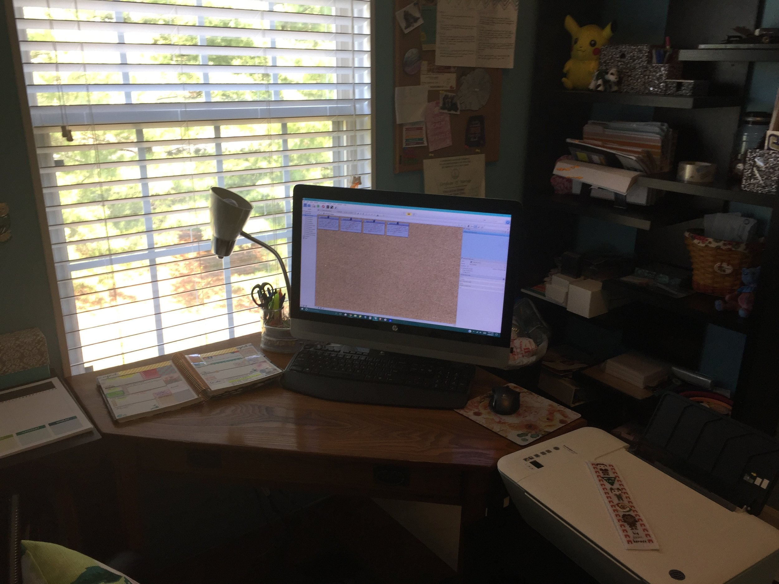 Meg's computer, open to Scrivener, the software she uses to write THE PHOENIX RISING series.  Photo Credit: Meg Bodemer, 2017.