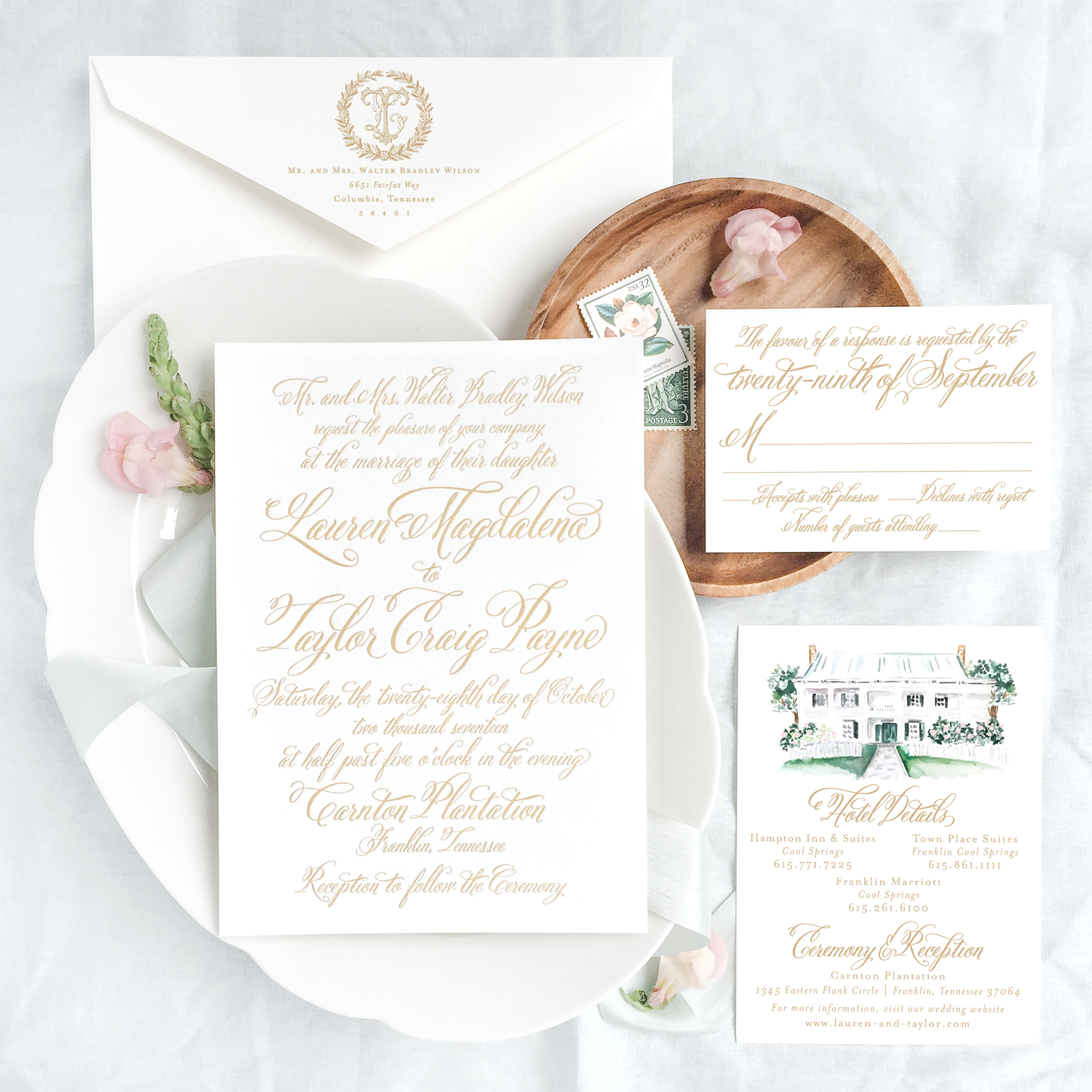 A custom letterpress suite for our October 2017 clients Lauren and Taylor