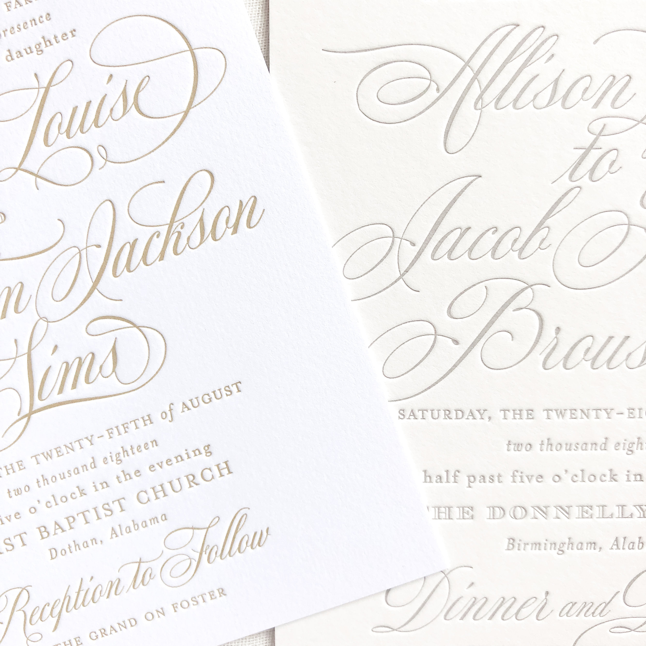 White paper    (left) versus  Ivory Paper  (right) Both samples are letterpress