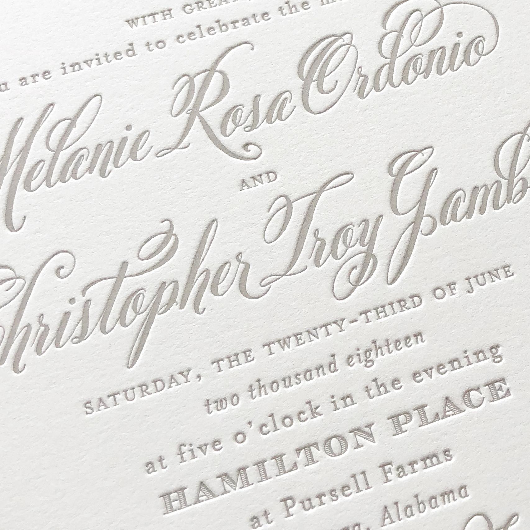 A sample of Letterpress Printing