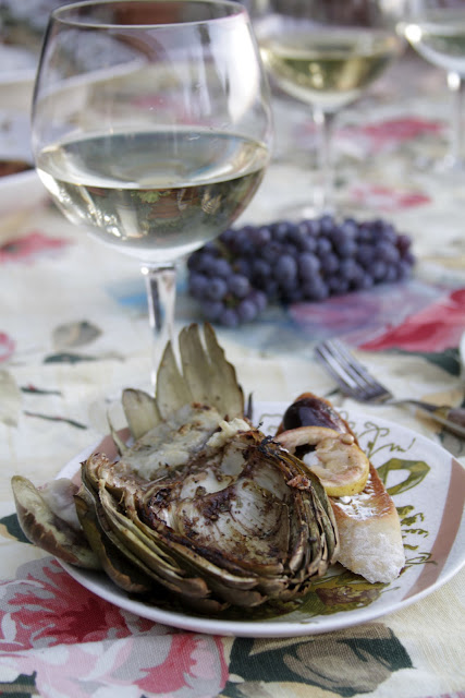 Grilled artichokes grilled figs and lemons and of course a glass of Pulchella wine.