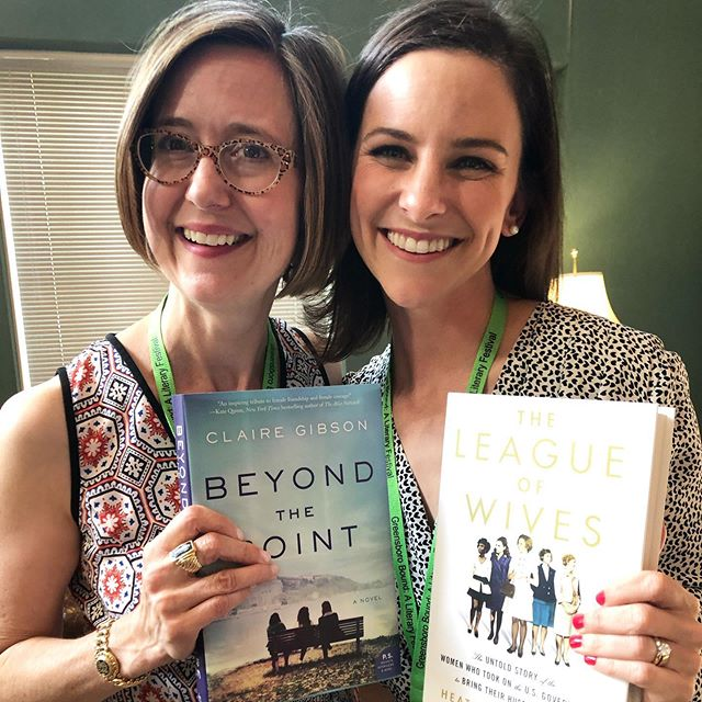 It was so great to share the stage yesterday with @heath_hlee, author of #LeagueofWives @greensborobound literary festival. Huge thanks to the folks at @scuppernongbooks for hosting us and for the folks who showed up to hear us fawn over each other's work!! Seriously, go get this book!