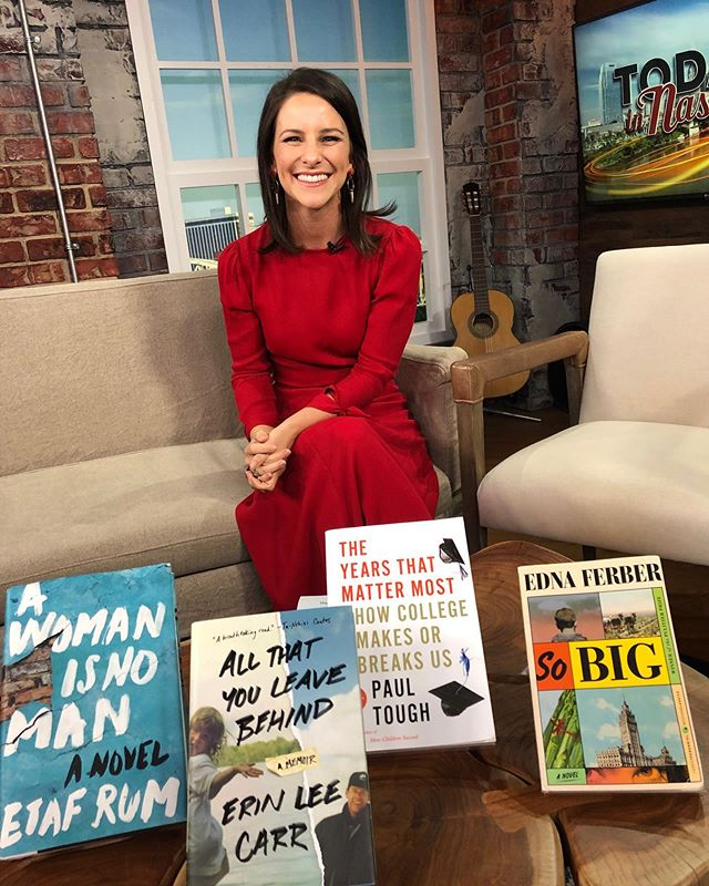 Well that was fun! Loved recommending some of my latest favorites with @todayinnashville this morning. You have probably already heard me wax poetic about @erinleecarr's #allyouleavebehind and @etafrum's #awomanisnoman. Have you bought them yet? What are you waiting for!? If nonfiction research social science stuff is more your speed (like it is mine) then I'd definitely recommend Paul Tough's upcoming book, #theyearsthatmattermost (releasing 9/10). Its about whether college admission works. (Hint: not so much.) If you'd rather a throwback title, I have to recommend Edna Ferber's 1924 Pulitzer winner, So Big. @brookewaggoner_ told me about it and it is SO GOOD and inspiring.  I was also able to give a shout out to @writerfestnsh which is happening November 22-23 at Lipscomb University. The lineup is going to be stacked with literary, music, and film industry giants. You'll want to be there. Registration is open now!