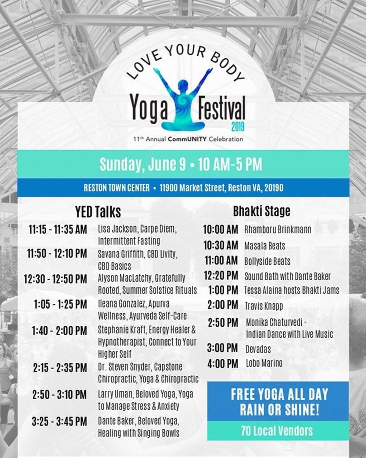 Event Schedule — Love Your Body Yoga Festival June 9, 2019