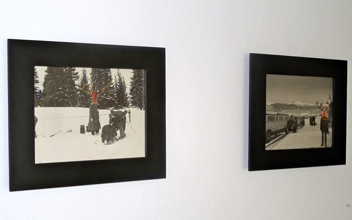 "Left: Elaine Bradford ""Ceremonial Concealment Study (Animal Spirt), 2013"" Right: ""Elaine Bradford "" Cermonial Concealment Study (Lightning), 2013"""
