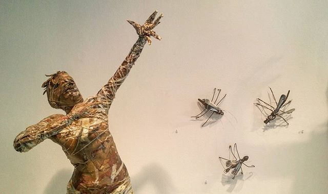 """Jesse Lott. """"Reaching Up"""", 2016. El Piñatero paper process and mixed media. 41 x 13 x 10  Also pictured: Jesse Lott. Insect 1, 2, and 3. Mixed metals and found objects. 2005. Various dimensions.  2016 Lifetime Achievement Award in the Visual Arts - Artist in Action: Jesse Lott, on view at #artleaguehouston until November 19th."""