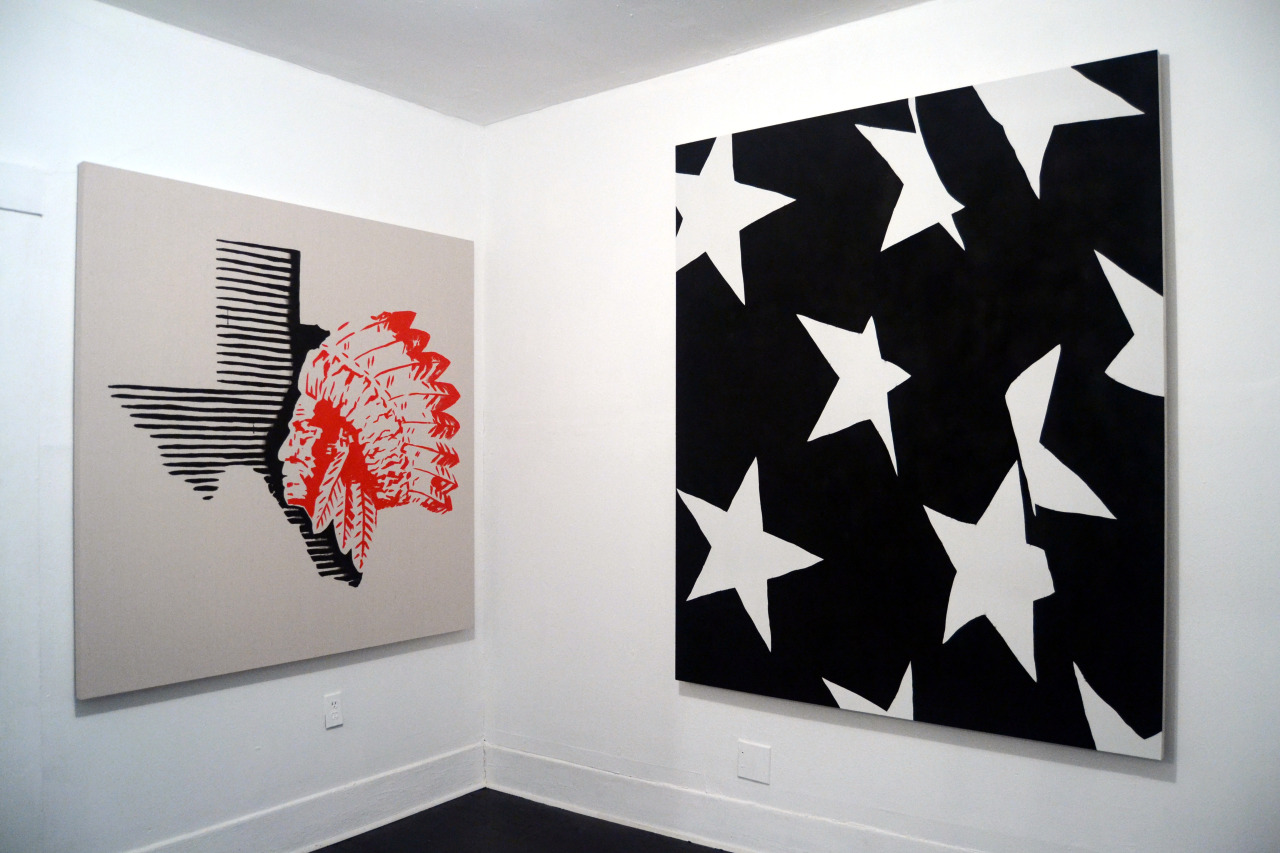 Left to right:  Edgar Meza  Layoff , 2015 Acrylic on canvas 60 x 60 inches  Edgar Meza  False Flag , 2015 Acrylic and spray paint on canvas 60 x 72 inches