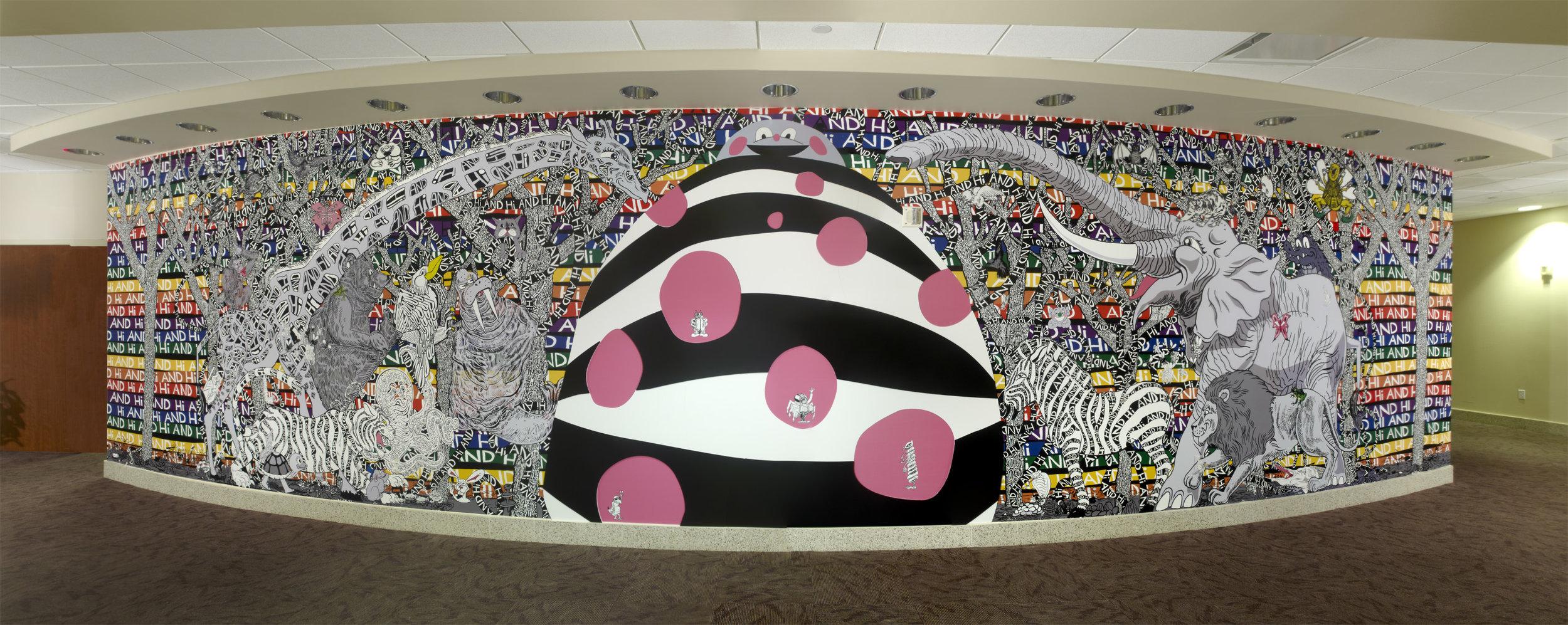 Trenton Doyle Hancock,  Hi and Hi , 2011, site-specific mural, approx. 8 x 39 ft. Children's Memorial Hermann Hospital. Photograph by Kara Trail