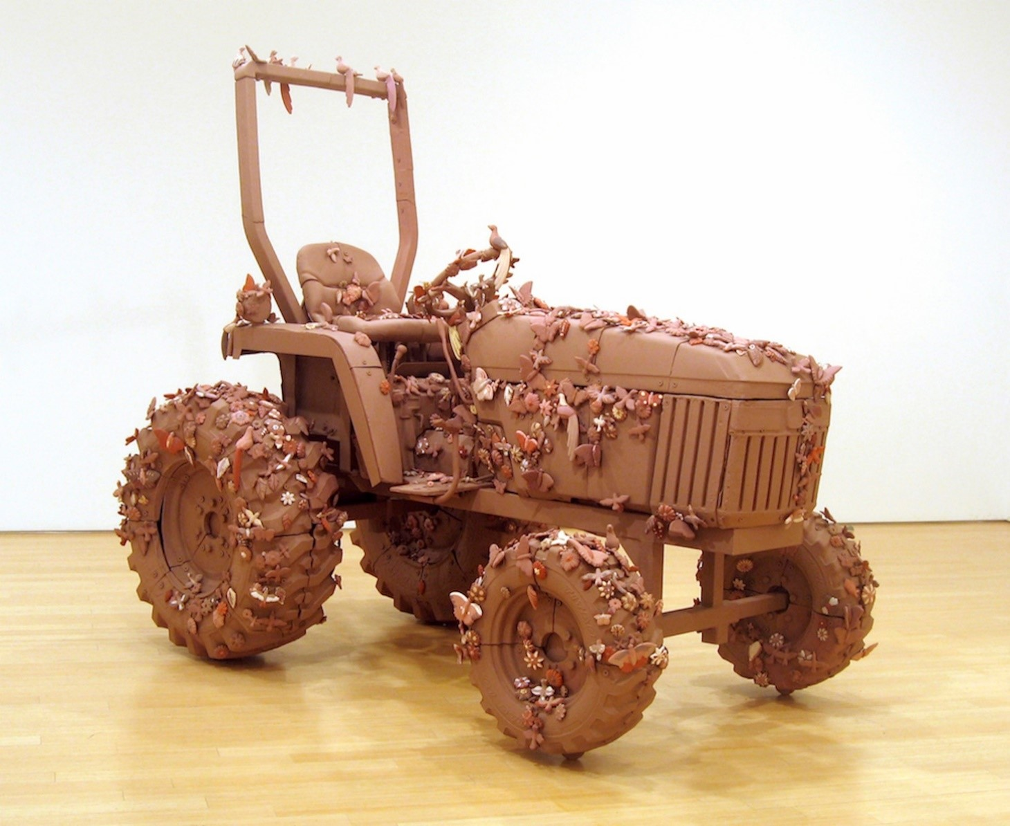 Margarita Cabrera,  Arbol de la Vida – John Deere Tractor Model #790 , 2007, clay, slip paint, latex acrylic and metal hardware, 100 x 60 x 96 inches, Photo Courtesy of the Artist