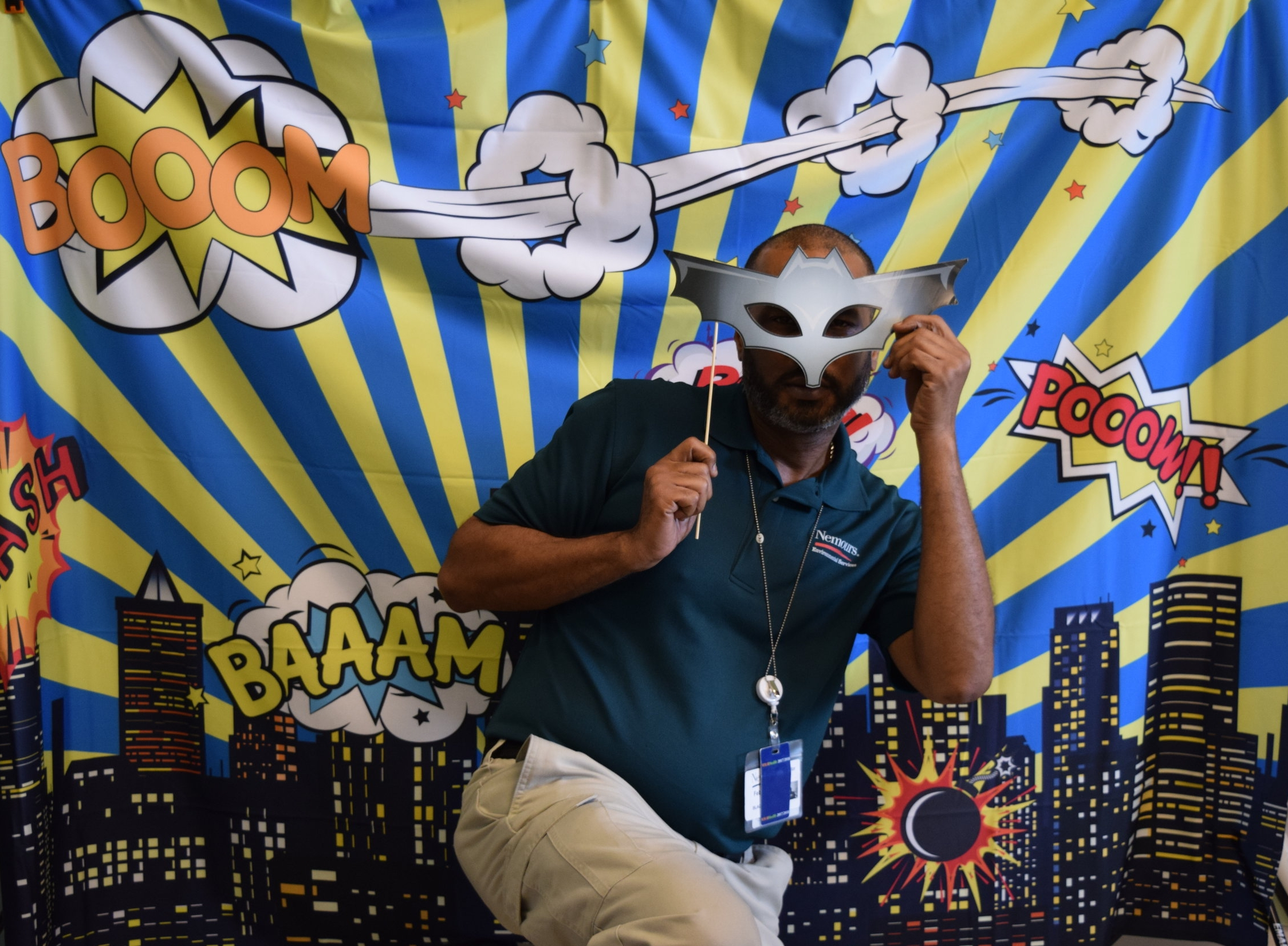 Random Hospital Worker wanted a Picture with our Backdrop!.JPG