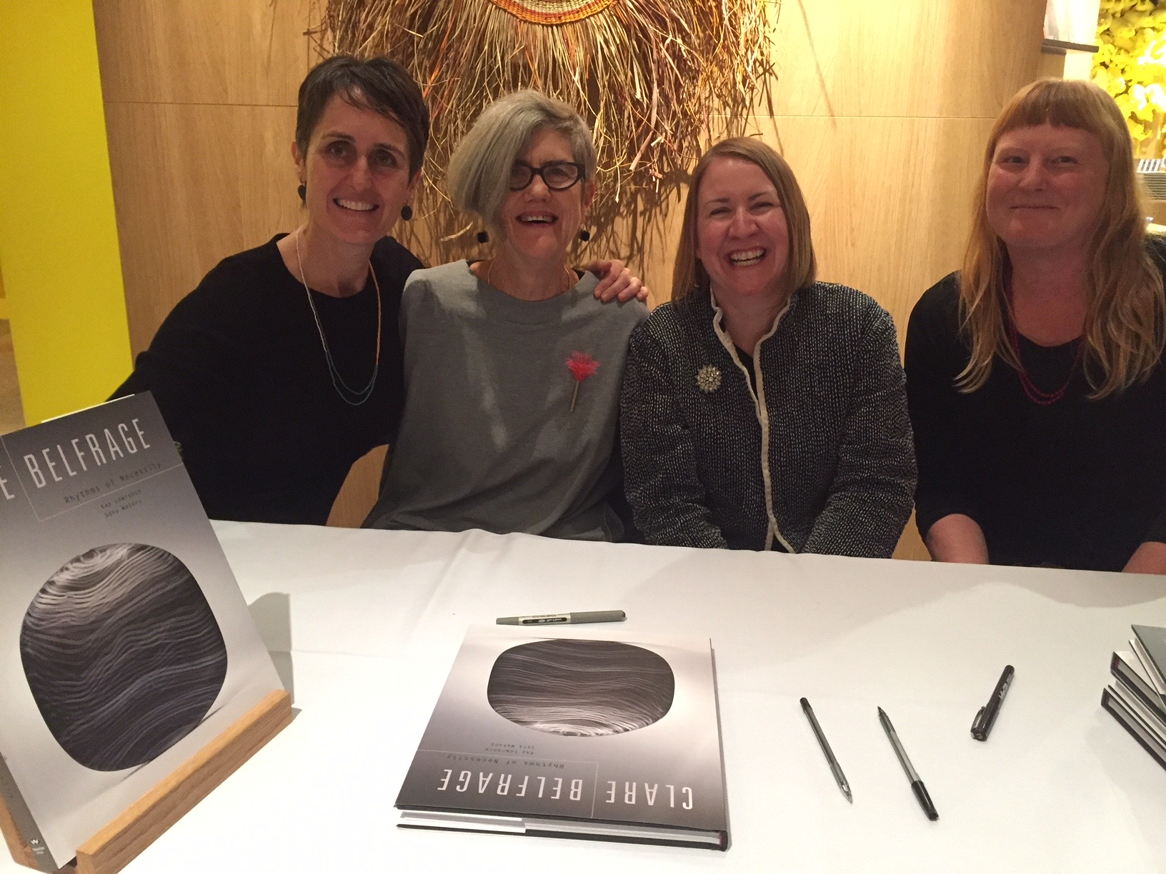 Book launch of Rhythms of Necessity, l-r Clare Belfrage, Kay Lawrence, Sera Waters and Kirsty Darlaston, Art Gallery of South Australia, July 2018