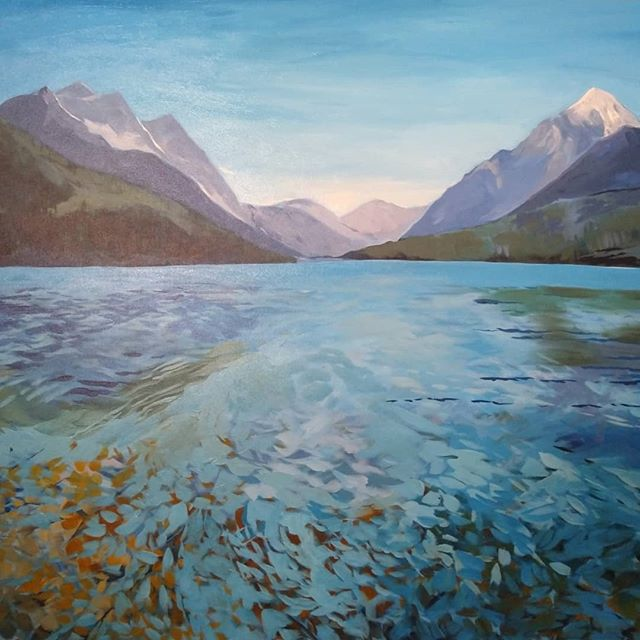 This is a painting of Bowman Lake in Glacier National Park that I started last year. Every couple of months for the past year, I've taken this painting down to work on...Maybe this time, it'll stay done. 🤞 * * * #painting #artwork #acrylicpainting #mnartist #glaciernationalpark #mountains #paintingmountains #paintingwater #artisticprocess