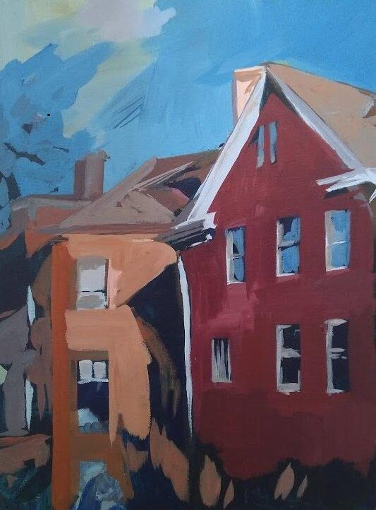 """Crocus Hill Houses, St. Paul - 11"""" x 14"""" Acrylic on Canvas, Sale Price $150"""