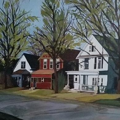 Powderhorn neighborhood houses circa 2014. . . . #minneapolisart #mnartist  #urbanlandscapes #painting #acrylicpainting #localart