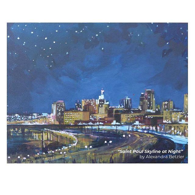 I love the way Saint Paul twinkles at night. . . . #painting #acrylicpainting #urbanlandscape #skyline #stpaulskyline #artwork #artist #art #mnartist #stpaulartist #stpaulartcrawl #stpaul #saintpaulmn #saintpaulartist #night #stars #twinkle