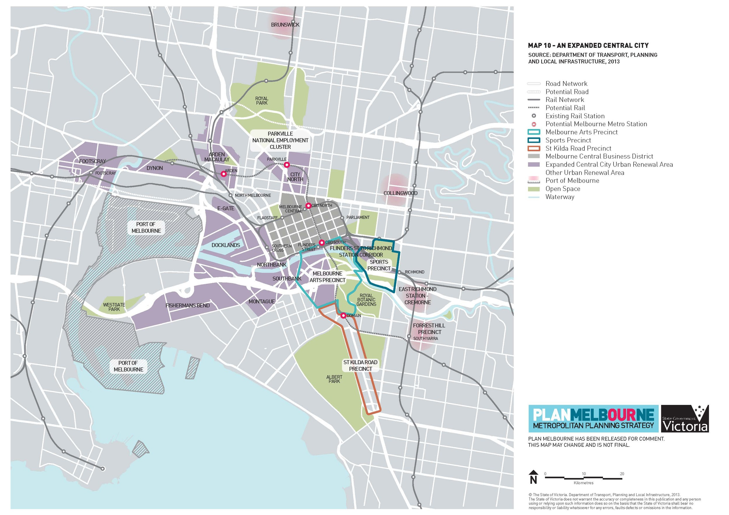Fig.1. The Expanded Capital City according to Plan Melbourne October 2013