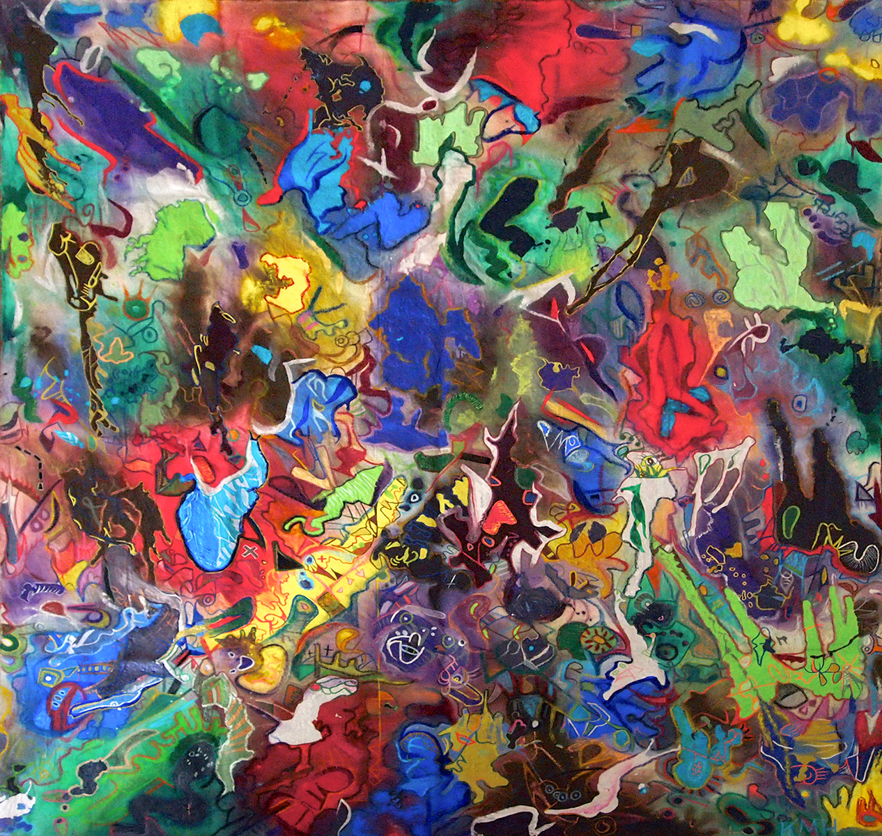 """MICRO MACRO II""   69 x 61 inches (custom)  Acrylic & Mixed Media on Raw, Un-stretched Canvas"