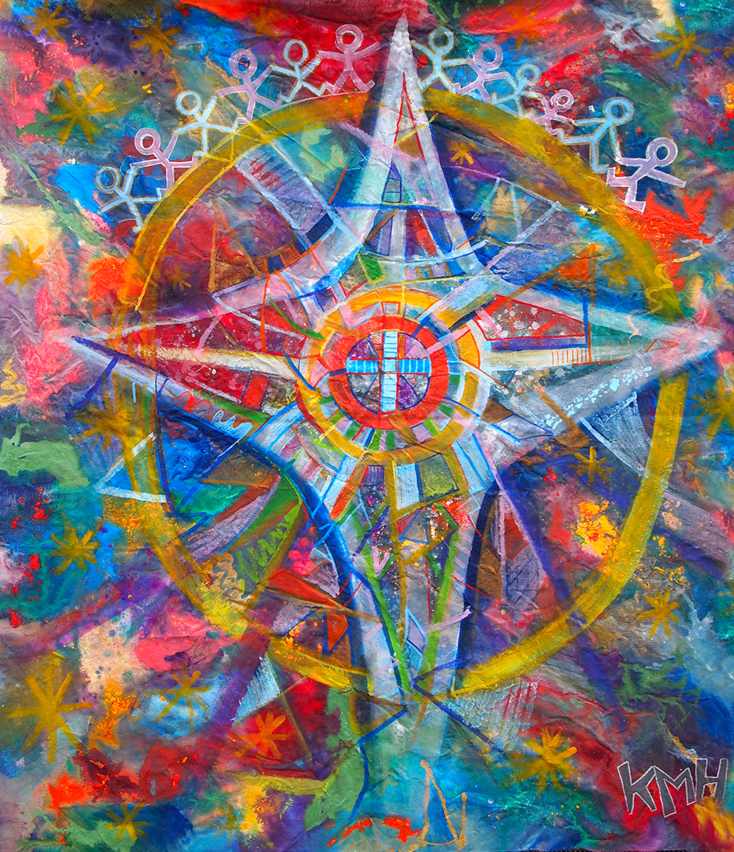 """NORTH STAR""  58 x 60 inches (custom)  Acrylic & Mixed Media on Raw, Un-stretched Canvas   SOLD"