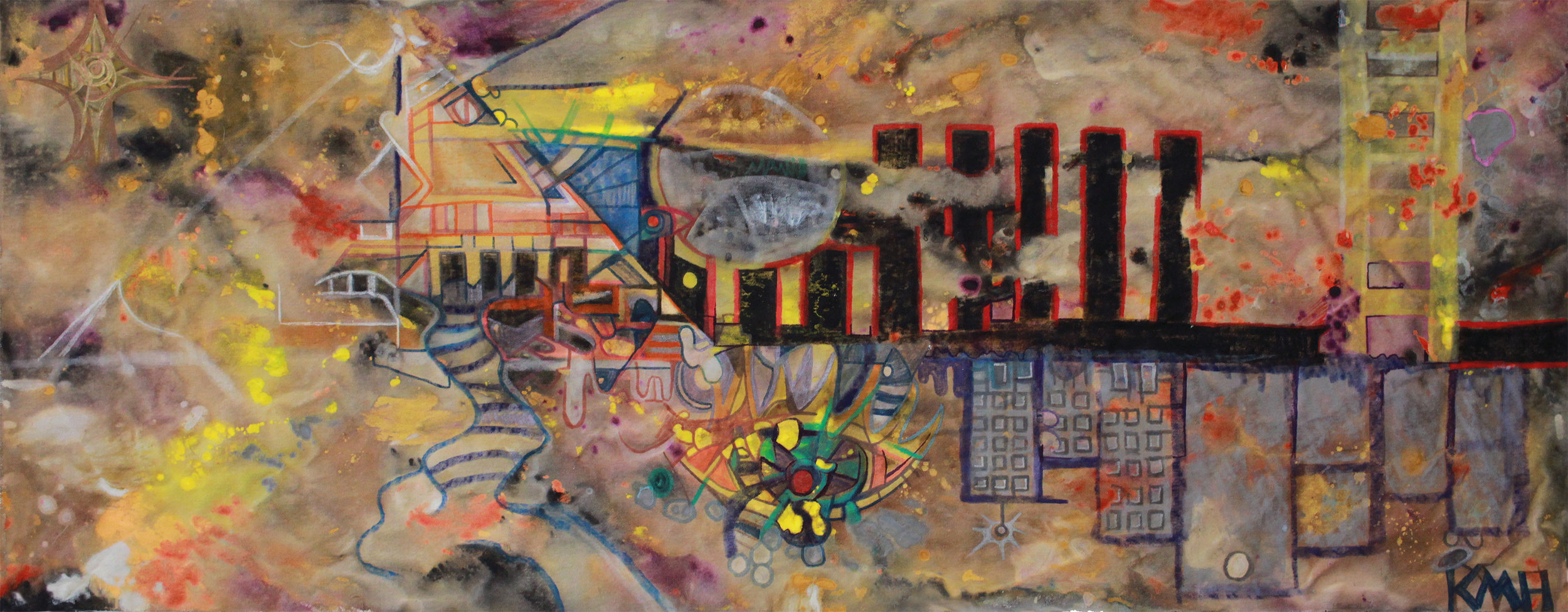 """STRUCTURE""   19 x 52 inches (custom)  Acrylic & Mixed Media on Raw, Un-stretched Canvas (framed)"