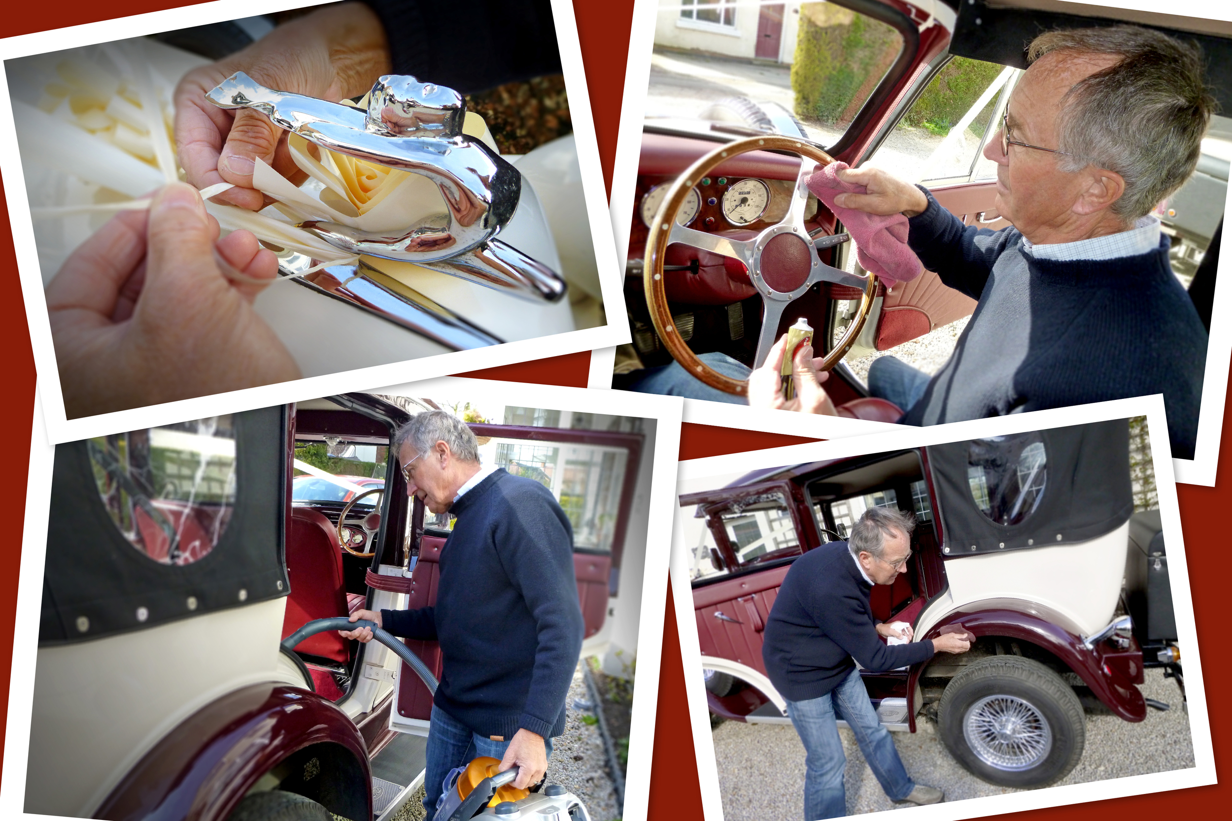 John Binns, owner of Married in Style cleaning and preparing  The Beauford Tourer  and  The Badsworth Landaulette  for their next wedding duties.