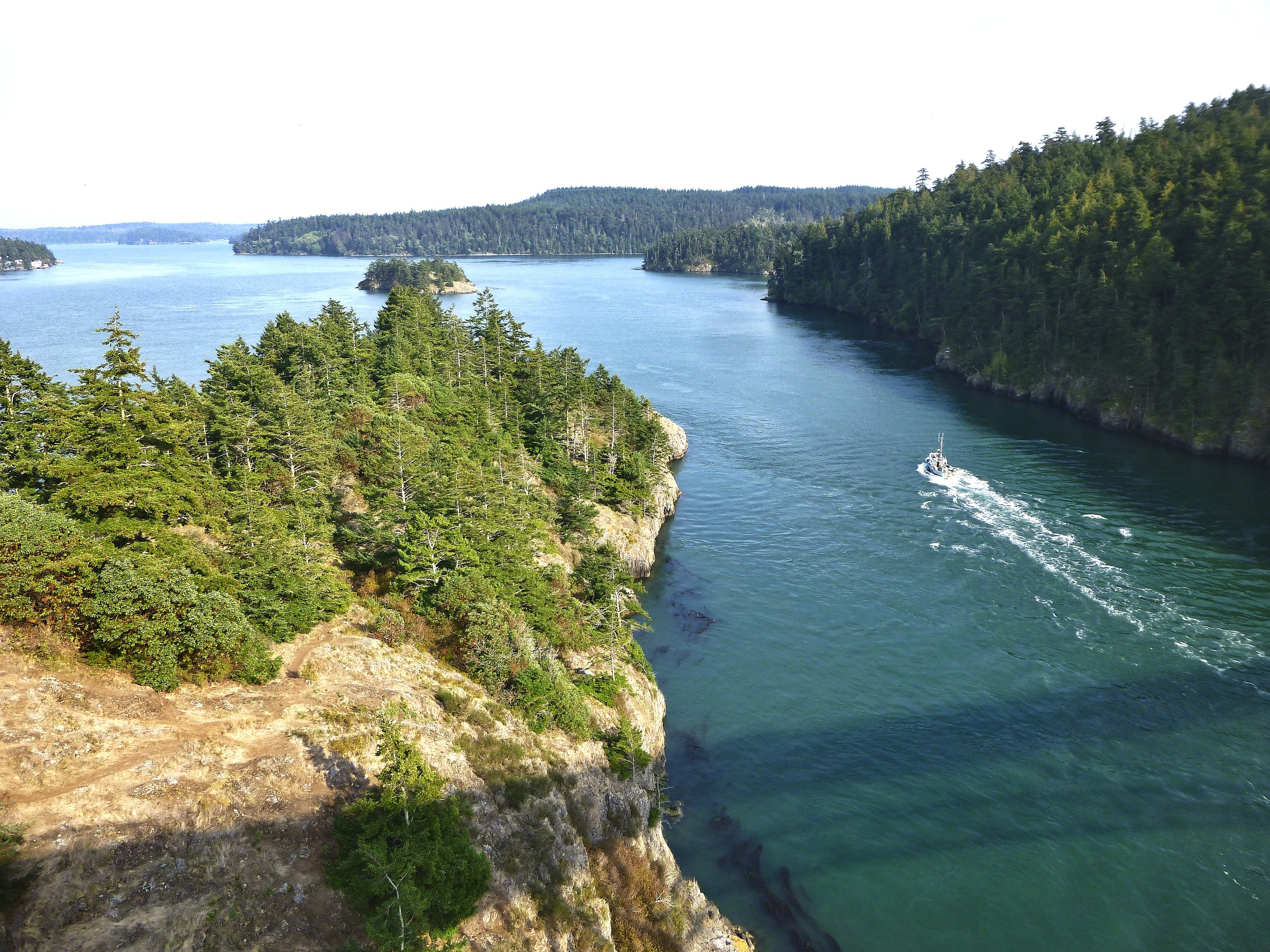 Deception Pass, Whidbey Island Washington. So called because the original explorers thought Whidbey was part of the mainland until they came across a deep gorge with the Pacific Ocean passing through!