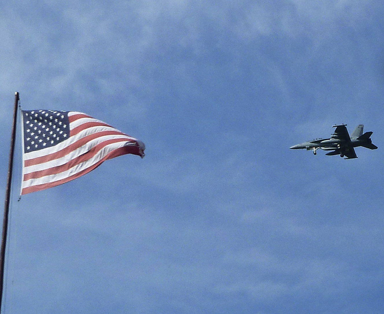 Hope he misses the flag! £44 million of Growler EA18 Jet on another training flight over the Island.