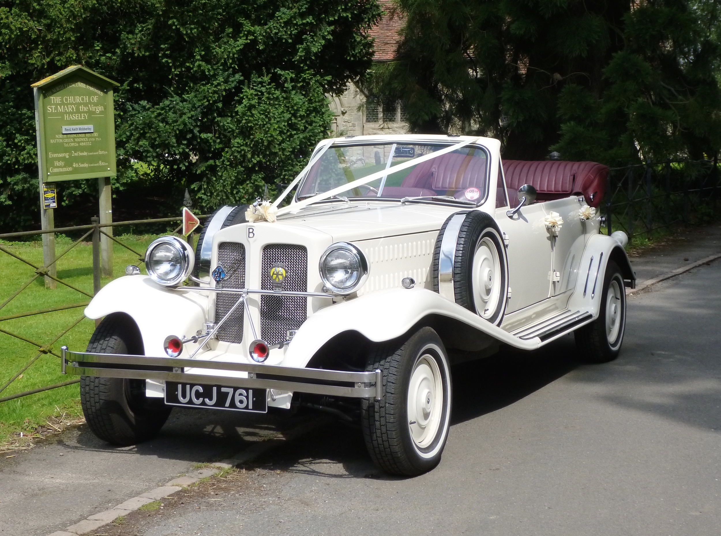 The Beaufordwith hood down on a fine day. When raised the hood is very weather proof.