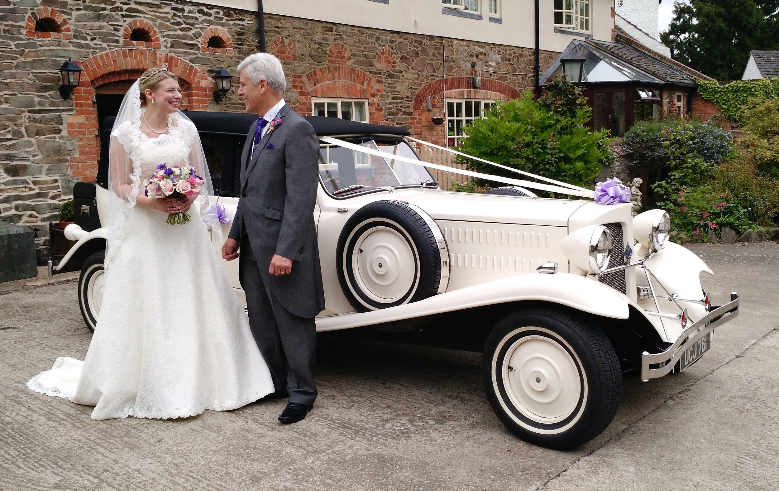 Laura and Father about to leave  Horse Shoe Cottage  Farm for the Wedding in Newtown Linford