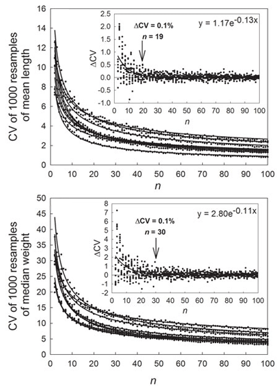 Changes in the coefficient of variation (CV) of mean length and median weight between resamples of nine juvenile yellowtail kingfish populations. The amount of variance in average size between resamples decreases with increasing sample size.
