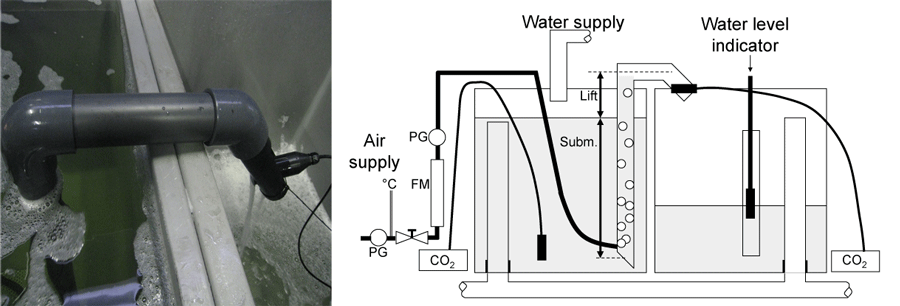 An airlift can be used to pump and mix water with air to degas dissolved CO2. Air is injected at the bottom of a tube and rises, dragging water with it. I measured the CO2 removal efficiency of this airlift in fresh and saline water.