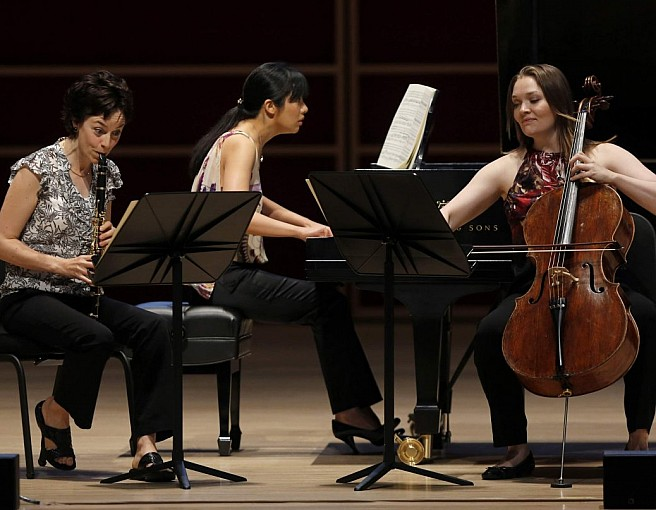 Trio Ariadne (Carol McGonnell, Elizabeth Joy Roe, Saeunn Thorsteinsdottir) perform at the Green Music Center