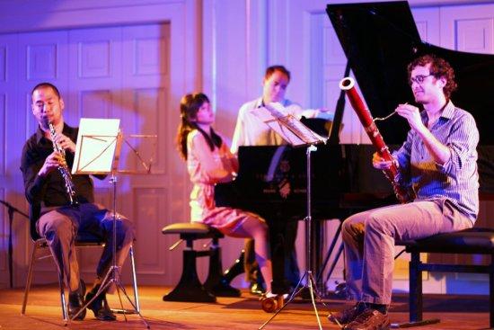 L to R: Arthur Sato (oboe), Elizabeth Joy Roe (piano) and Brad Balliett (bassoon) perform Poulenc's Trio