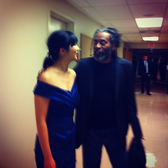 Elizabeth Joy Roe with Bobby McFerrin, backstage at the Adrienne Arsht Center