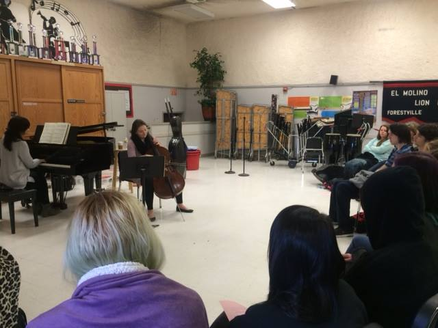 Elizabeth Joy Roe and Saeunn Thorsteinsdottir perform for students at El Molino High School