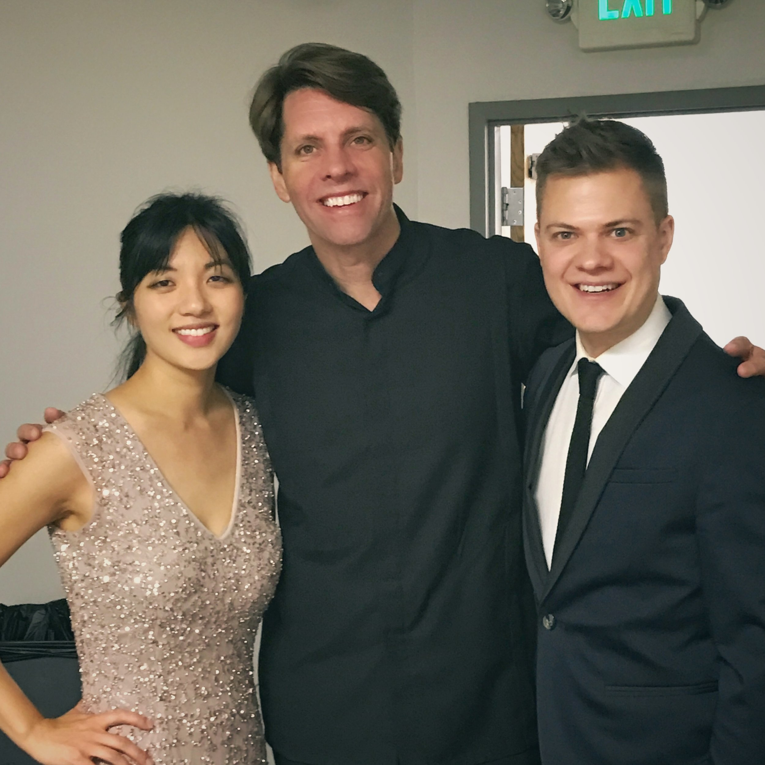 Anderson & Roe with Maestro Michael Butterman after performing two concerti with the Boulder Philharmonic
