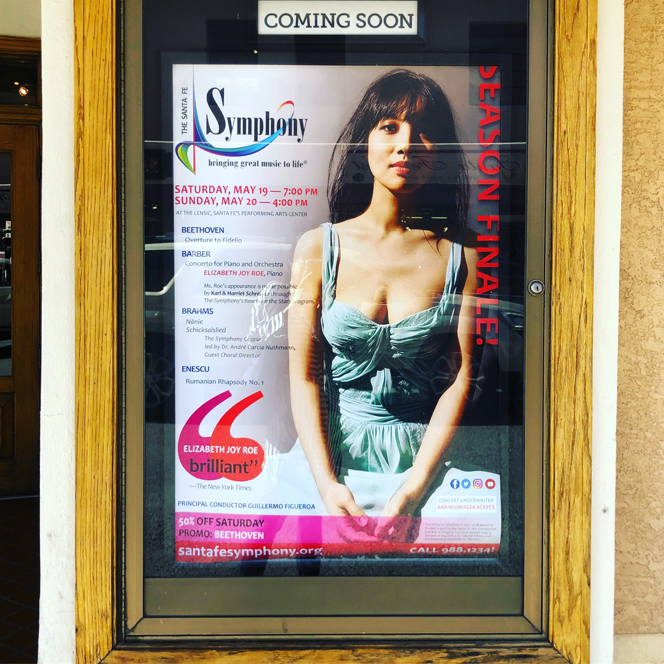 Poster outside the Lensic Theater, home of the Santa Fe Symphony