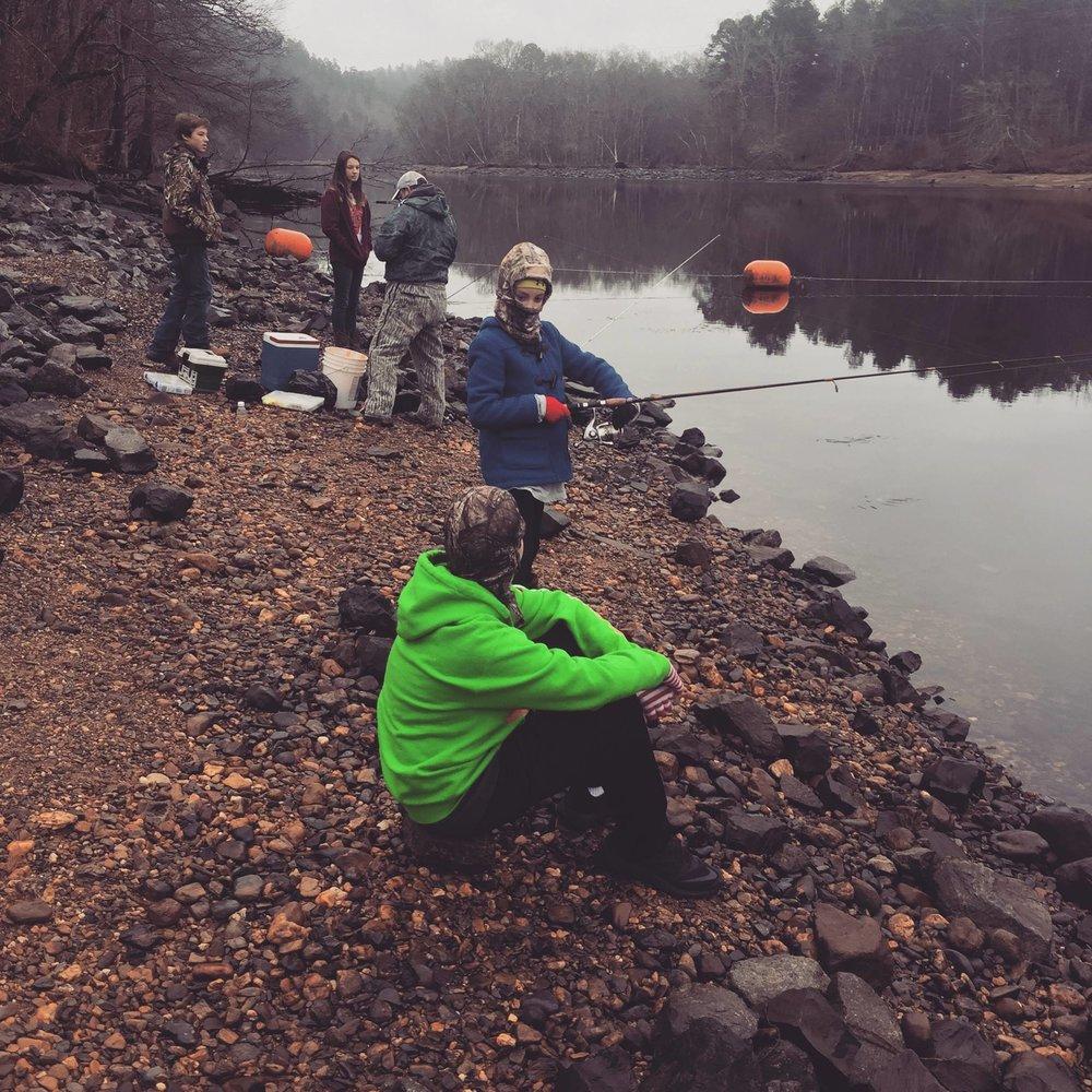 Fishing at the Blakely Mountain Dam on Lake Ouachita.