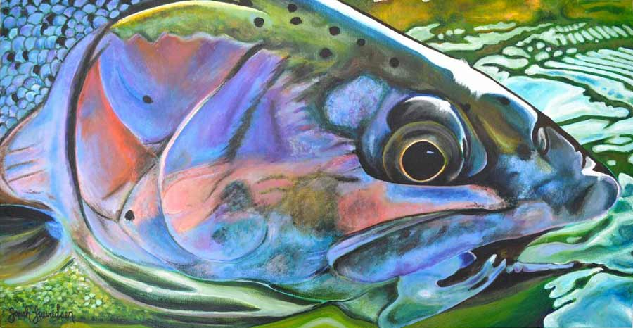"""Rainbow Trout in Water."" Acrylic on canvas. 48″ X 24″"