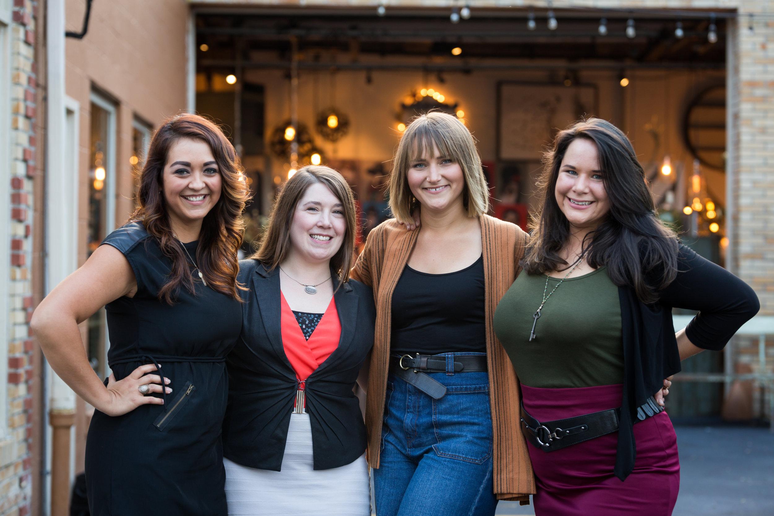(Left) Alethea Yeisley  Designer/Store Merchandiser , Emily LaVoy, Store Manager , Kate Boggs: LOFT  Store Manager, Hollie Klem  Development  (Right)