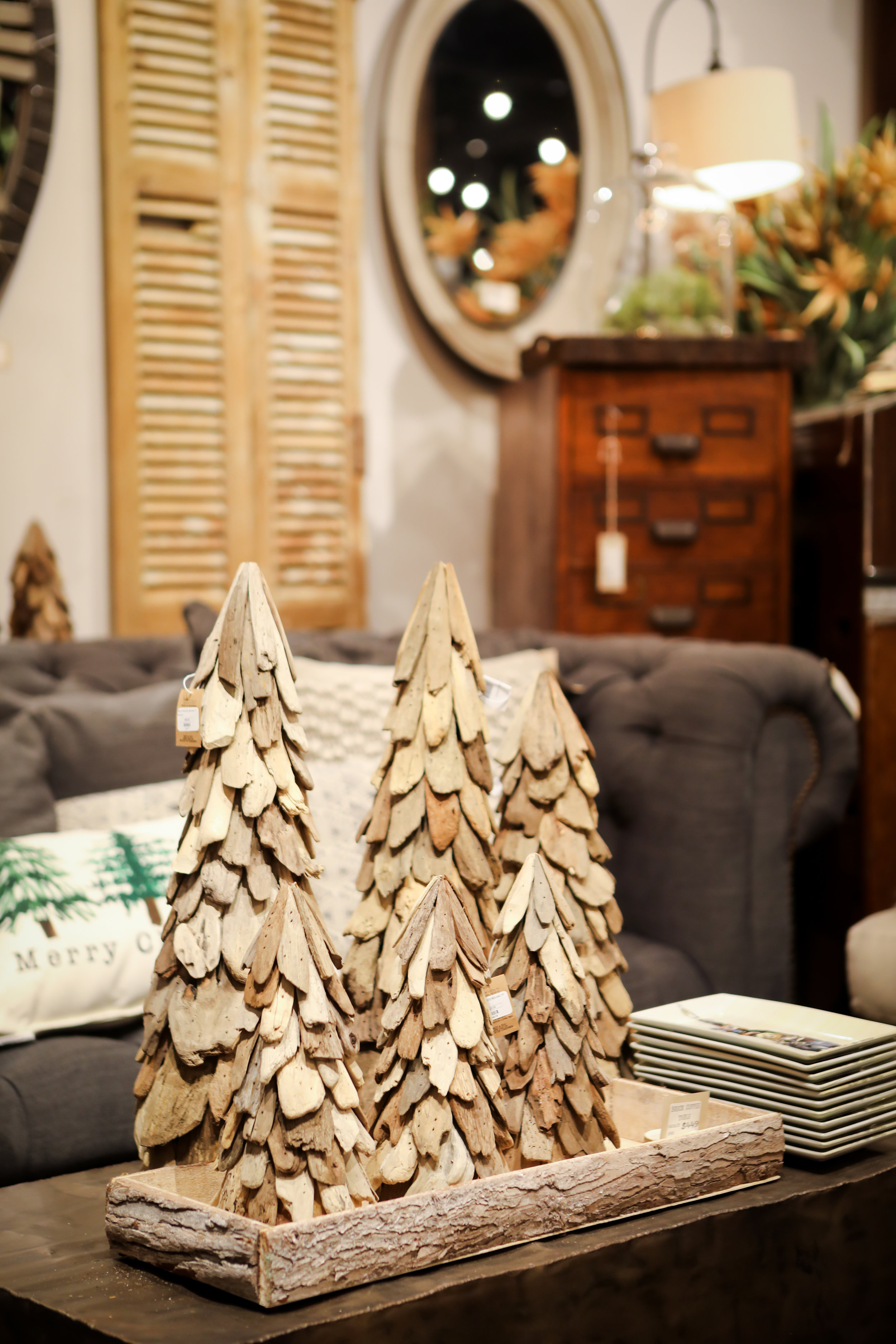 "12"" Driftwood Cone Tree $22.00"