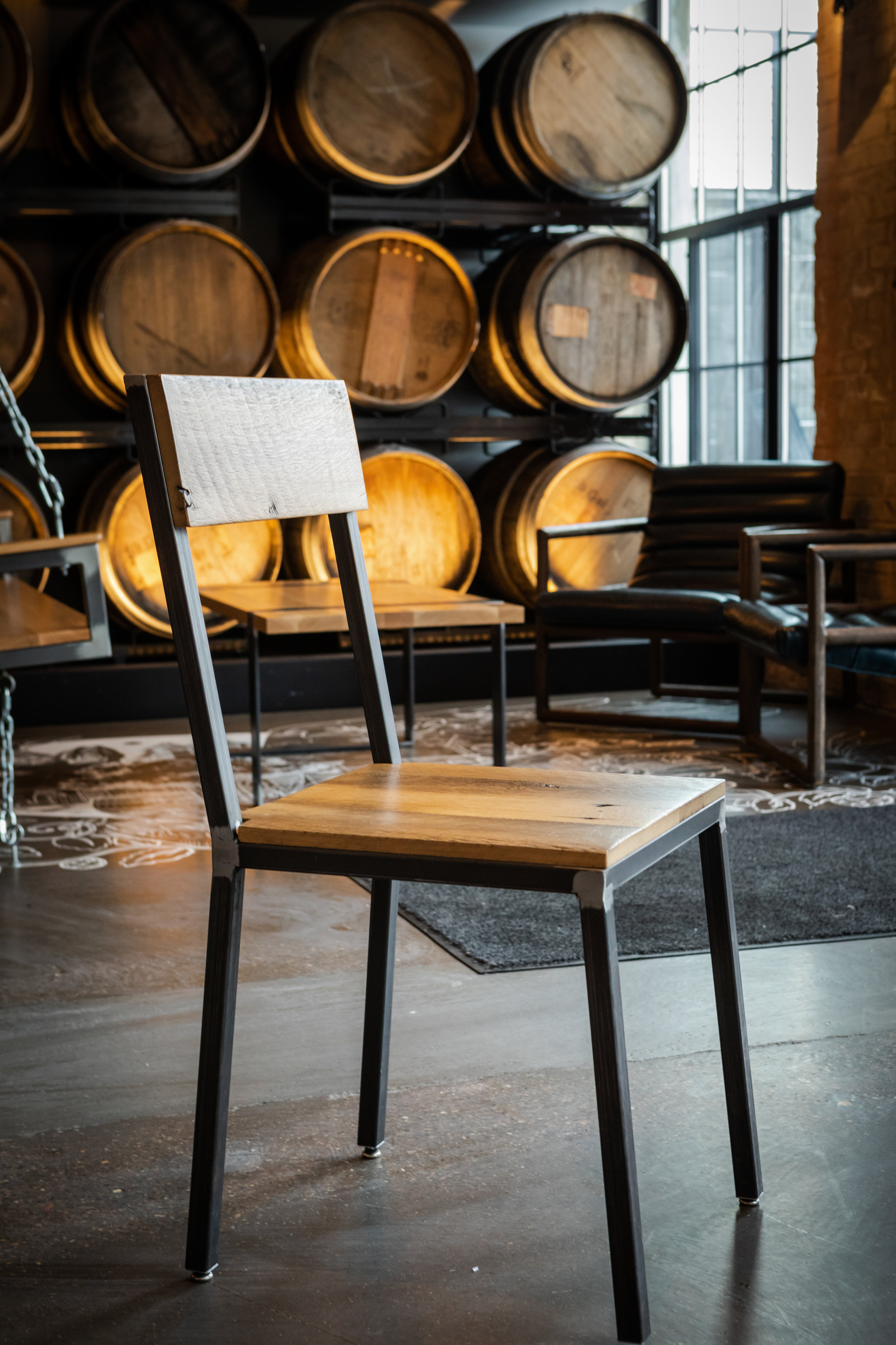 Edgework Creative Everyday Dining Chair  - This style was created for Elm & Iron and has sold out, but they also offer custom work that could be recreated if interested. Also available in two other styles that are still in stock: Laid Back & All Frame.