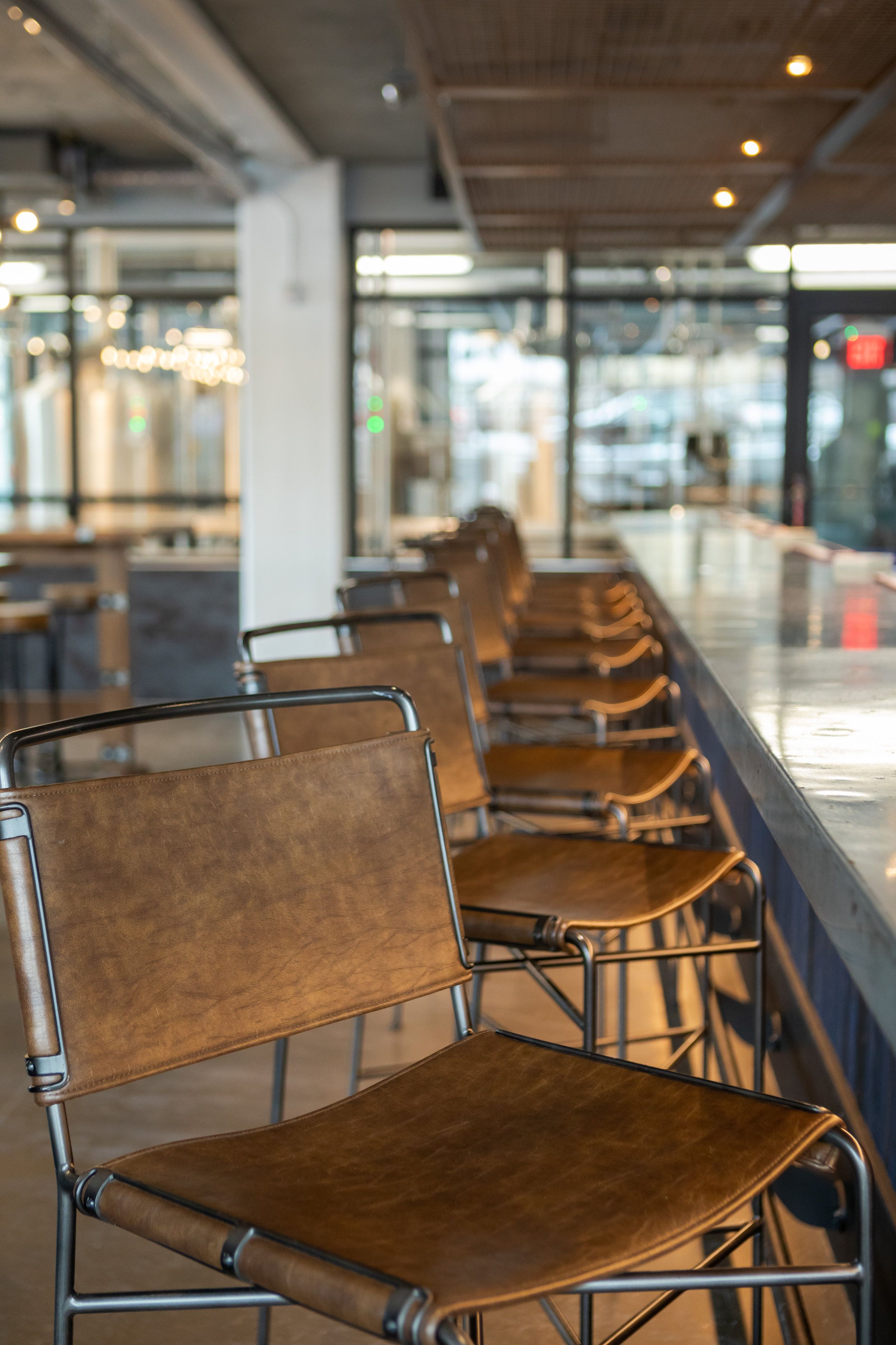 Wharton Bar Stools  - Also available in counter height stools & dining chairs. Shown in Distressed Brown Leather. Additionally available in Stonewash Grey Canvas & Modern Olive Velvet.