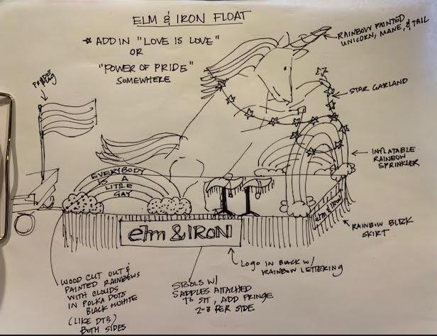 2019 elm & IRON Pride float blue print.