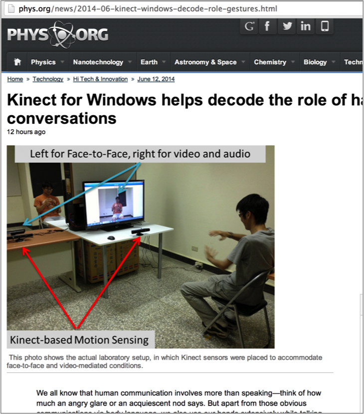 Phys.org reported our CHI 2014 paper on using Kinect sensing to study hand movement during interpersonal conversations.