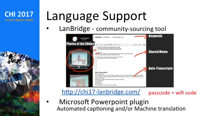 Developed and tested LanBridge shared note-taking tool as cross-lingual communication support at CHI 2017.