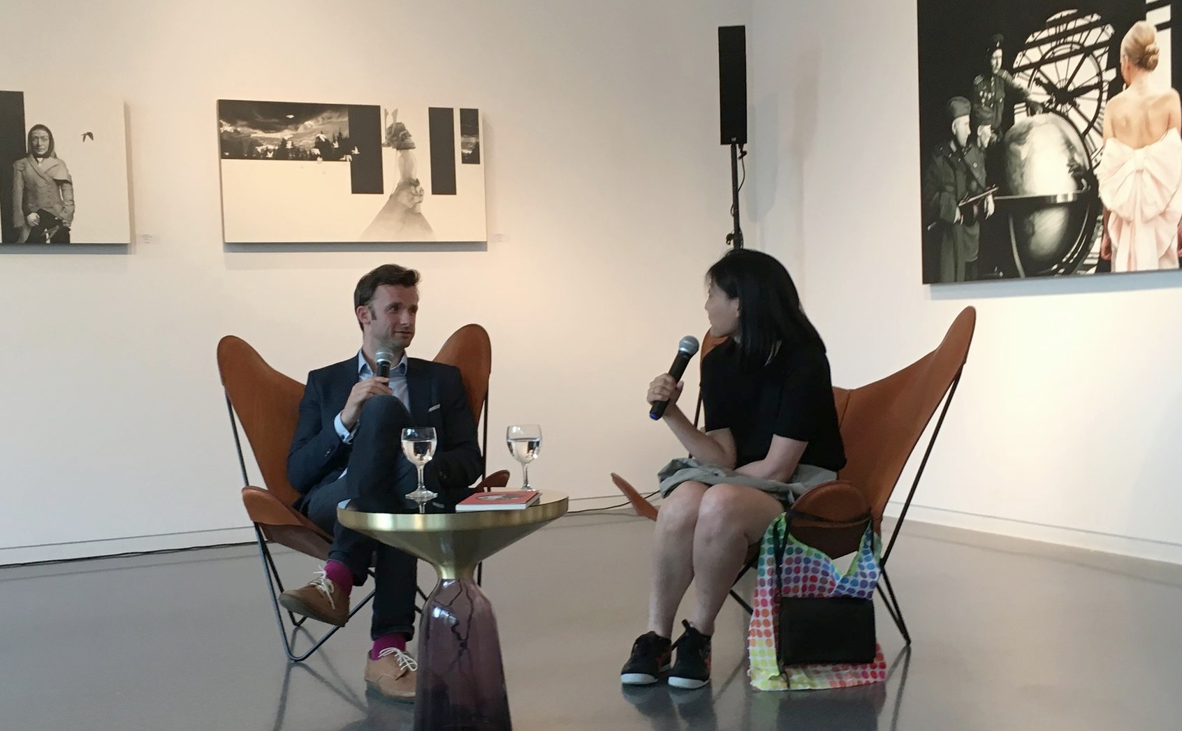 In conversation with author of  Fingerpflanzen , Anna Kim at the private view of my solo show  The Way I Remember You Now  at Venet-Haus Galerie. Photo courtesy of Marie Harnett.