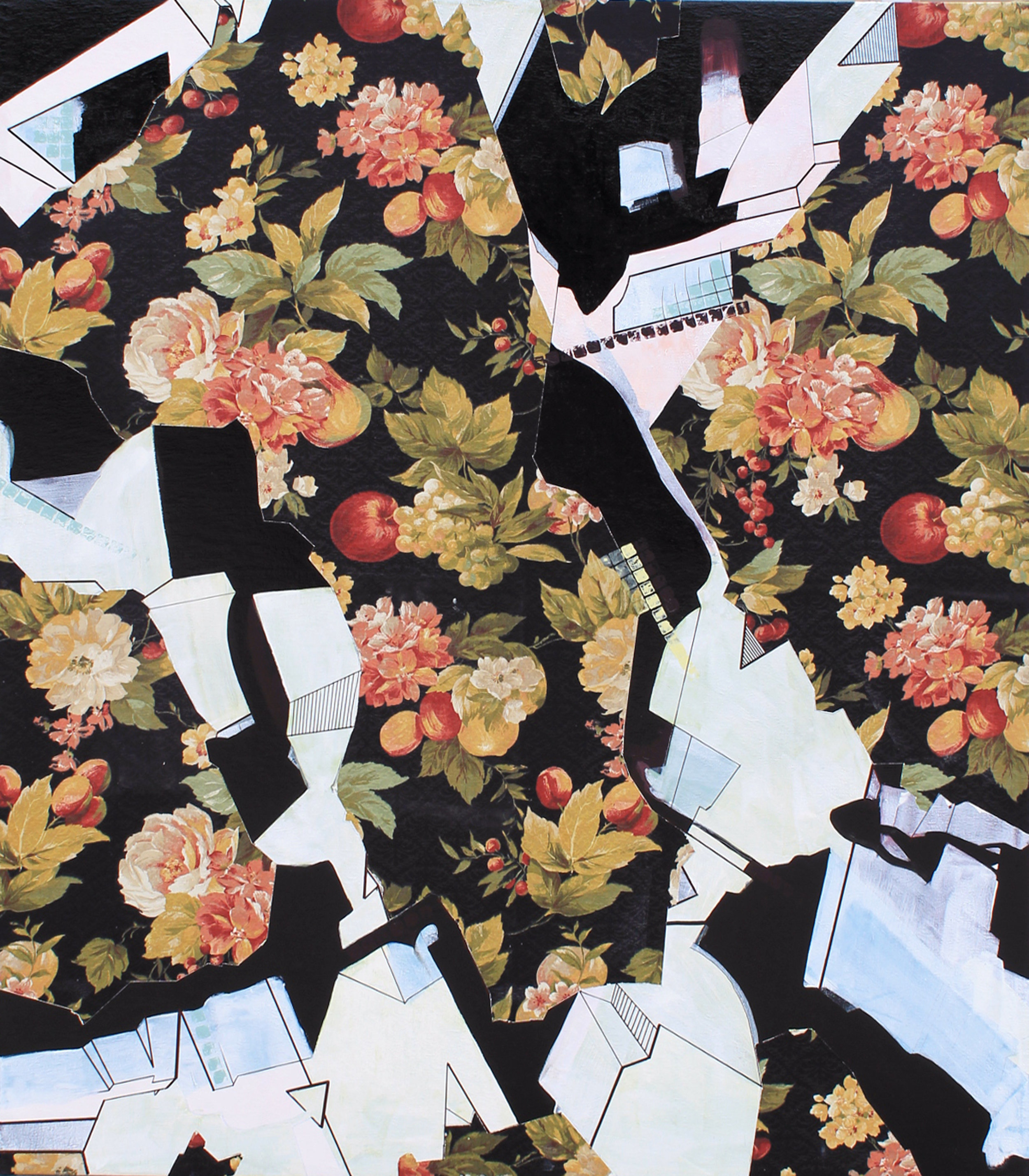 """Bramasole"" Acrylic and enamel on printed fabric; 150x130cm"